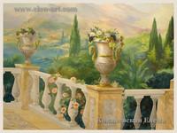 роспись в бассейне,роспись Терасса с павлинами